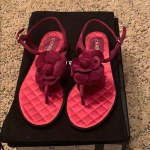 Chanel sue calfskin dark pink thongs